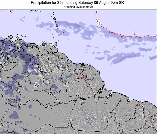 Guyana Precipitation for 3 hrs ending Thursday 24 Jul at 9am SRT map