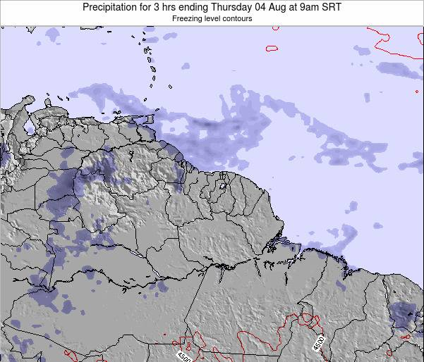 Guyana Precipitation for 3 hrs ending Thursday 24 Apr at 9am SRT map