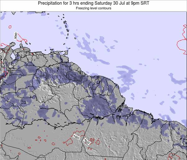 Guyana Precipitation for 3 hrs ending Friday 01 Aug at 9pm SRT map