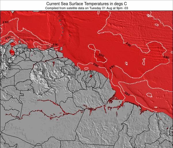 Guiana Francesa Temperaturas da Superfície do Oceano Mapa