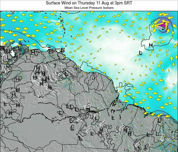 French Guiana Surface Wind on Wednesday 22 Apr at 3am SRT