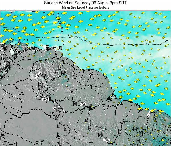 French Guiana Surface Wind on Saturday 29 Nov at 3pm SRT
