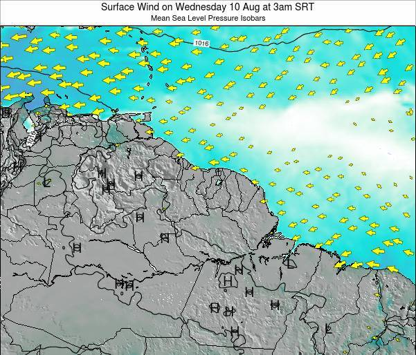 French Guiana Surface Wind on Monday 27 Feb at 9pm SRT
