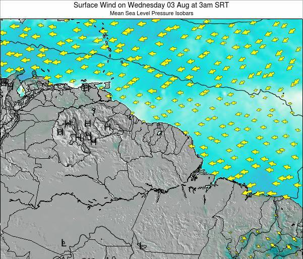 French Guiana Surface Wind on Tuesday 22 Apr at 3pm SRT