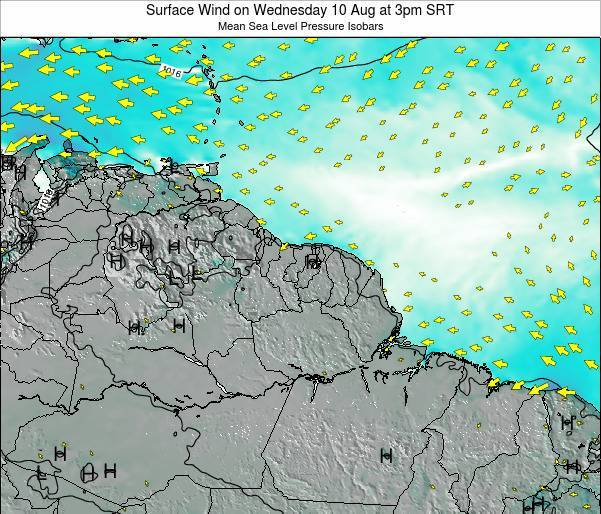 French Guiana Surface Wind on Thursday 23 May at 9pm SRT