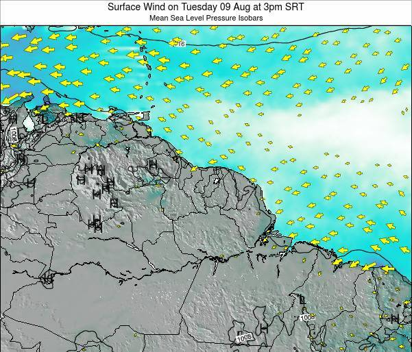 French Guiana Surface Wind on Sunday 27 Apr at 3am SRT