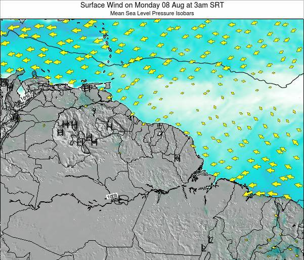 French Guiana Surface Wind on Sunday 03 Aug at 3am SRT