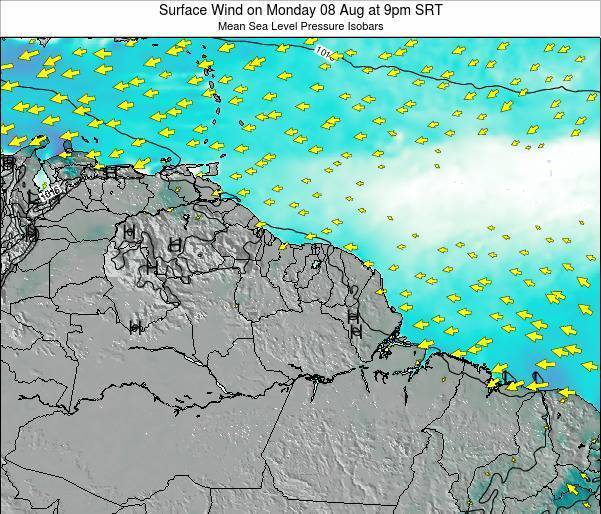 French Guiana Surface Wind on Tuesday 10 Dec at 3am SRT