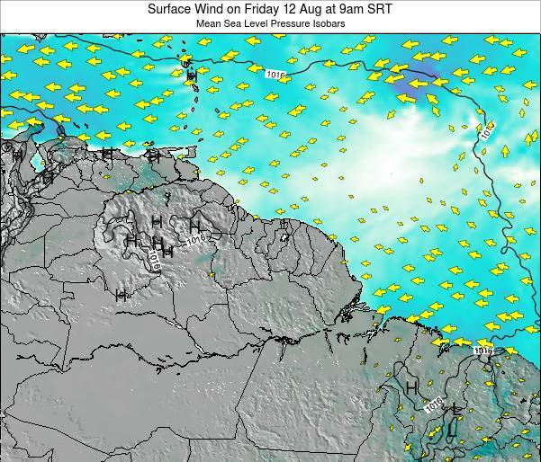 French Guiana Surface Wind on Thursday 30 May at 3am SRT