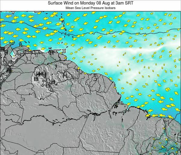 French Guiana Surface Wind on Saturday 01 Nov at 3pm SRT