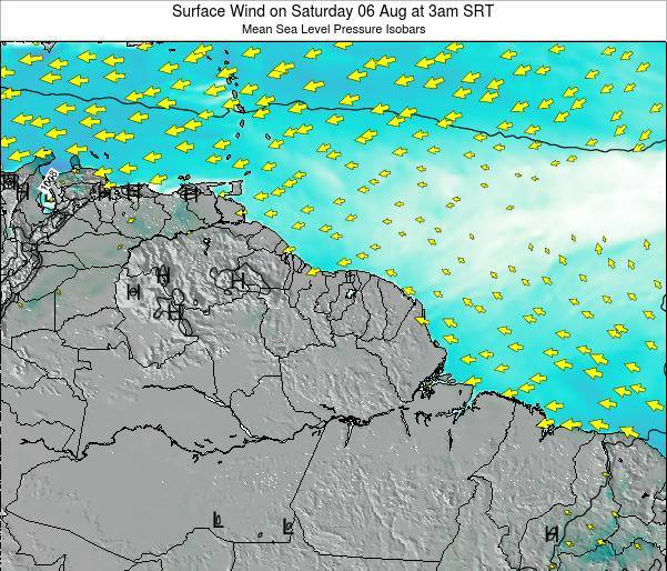 French Guiana Surface Wind on Tuesday 27 Jan at 3am SRT