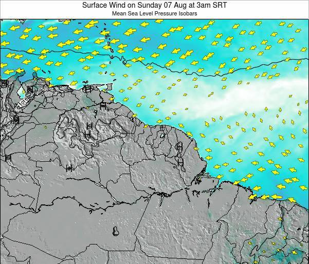 French Guiana Surface Wind on Friday 18 Apr at 3pm SRT