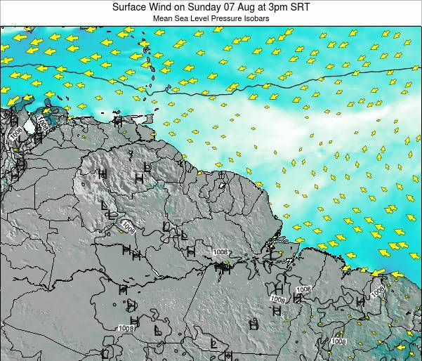 French Guiana Surface Wind on Thursday 24 Apr at 3am SRT
