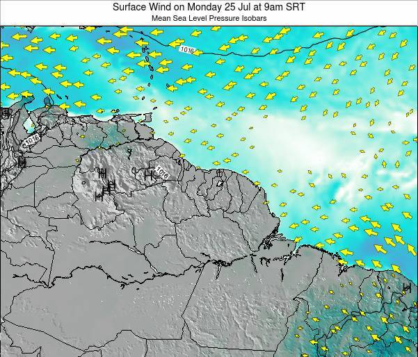 French Guiana Surface Wind on Saturday 02 Aug at 9pm SRT