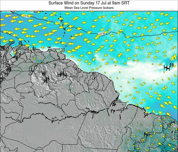 French Guiana Surface Wind on Friday 22 Aug at 9pm SRT