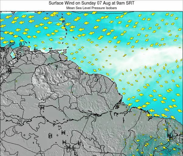 French Guiana Surface Wind on Saturday 14 Dec at 3am SRT