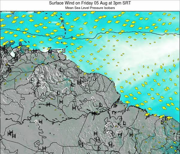 French Guiana Surface Wind on Friday 24 May at 3pm SRT