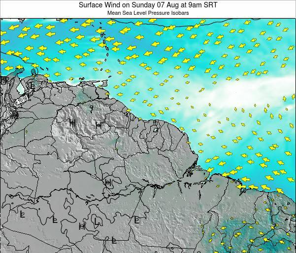 French Guiana Surface Wind on Thursday 20 Jun at 9pm SRT