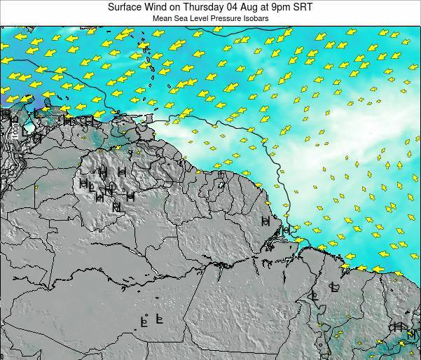 French Guiana Surface Wind on Friday 31 Oct at 9am SRT