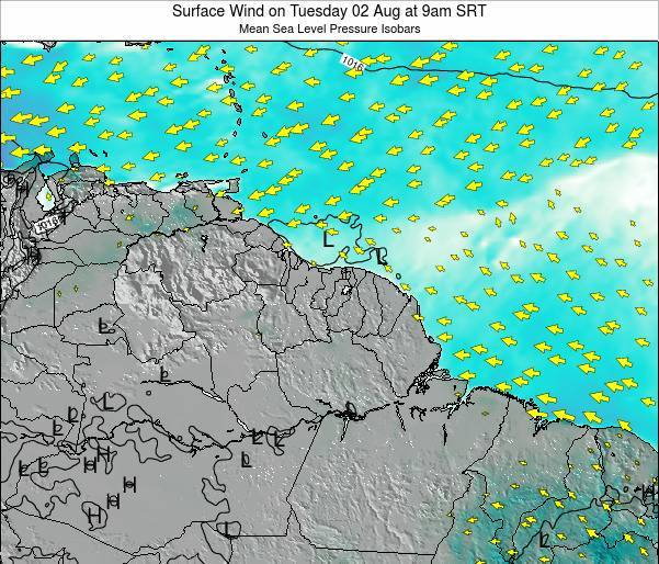 French Guiana Surface Wind on Saturday 25 May at 3pm SRT