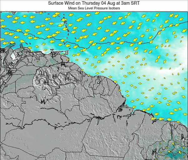 French Guiana Surface Wind on Thursday 24 Apr at 3pm SRT