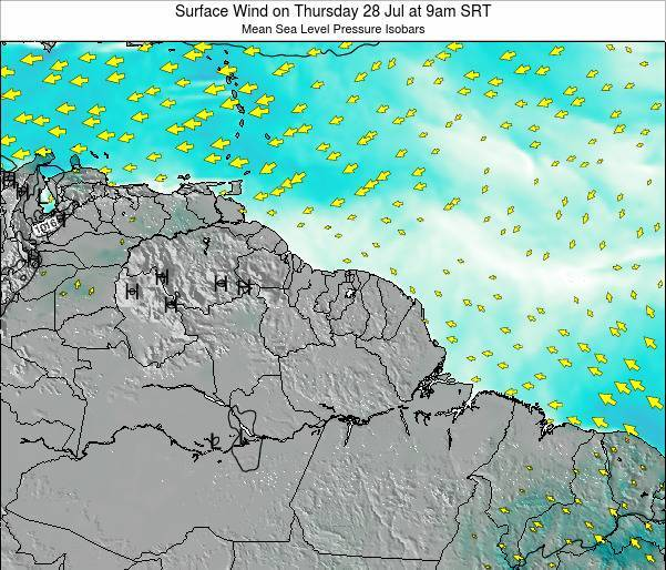 French Guiana Surface Wind on Friday 01 Aug at 3am SRT