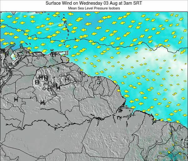 French Guiana Surface Wind on Thursday 05 Dec at 3pm SRT