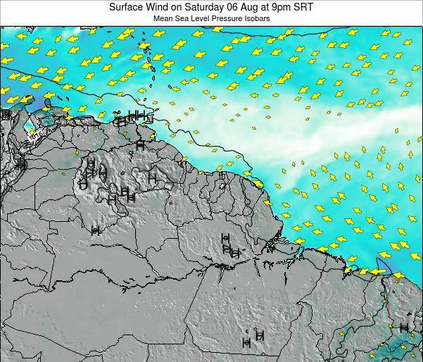 French Guiana Surface Wind on Thursday 19 Apr at 3am SRT map