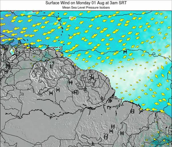 French Guiana Surface Wind on Tuesday 16 Sep at 9pm SRT