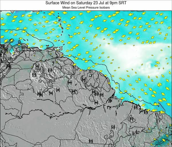French Guiana Surface Wind on Saturday 15 Dec at 3pm SRT map