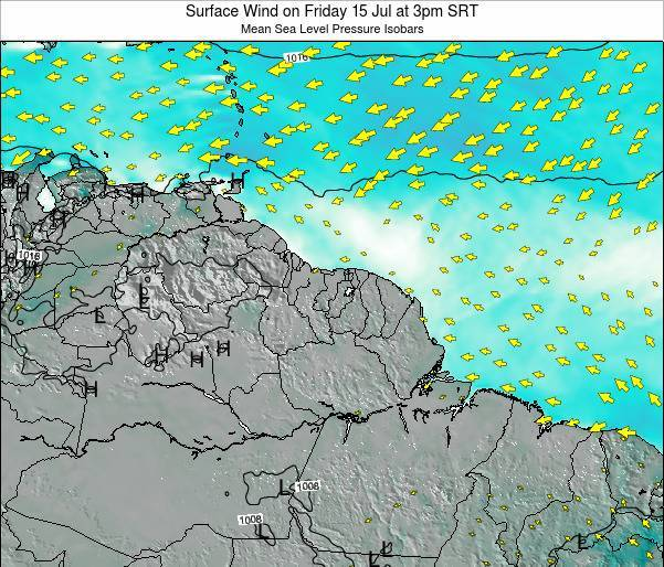 French Guiana Surface Wind on Saturday 25 Oct at 9am SRT