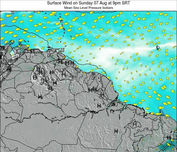 French Guiana Surface Wind on Sunday 09 Mar at 9pm SRT
