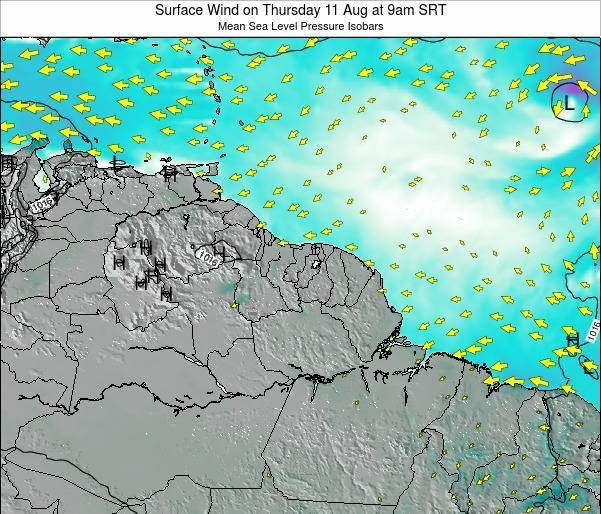 French Guiana Surface Wind on Friday 05 Sep at 9pm SRT