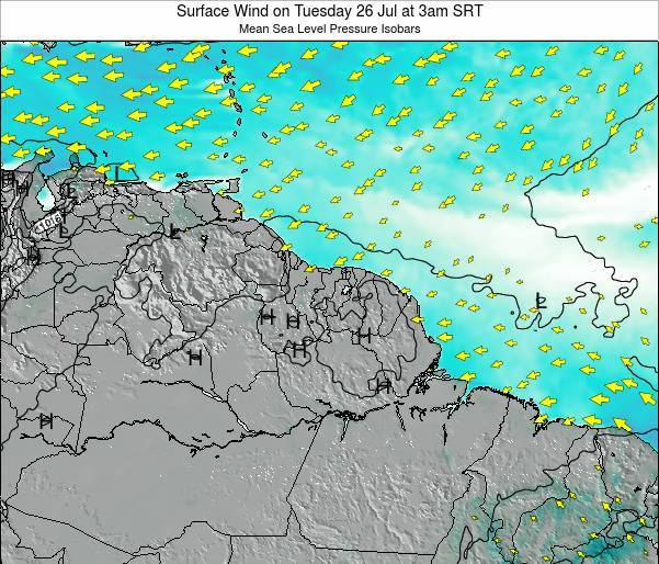 French Guiana Surface Wind on Sunday 22 Jan at 3pm SRT