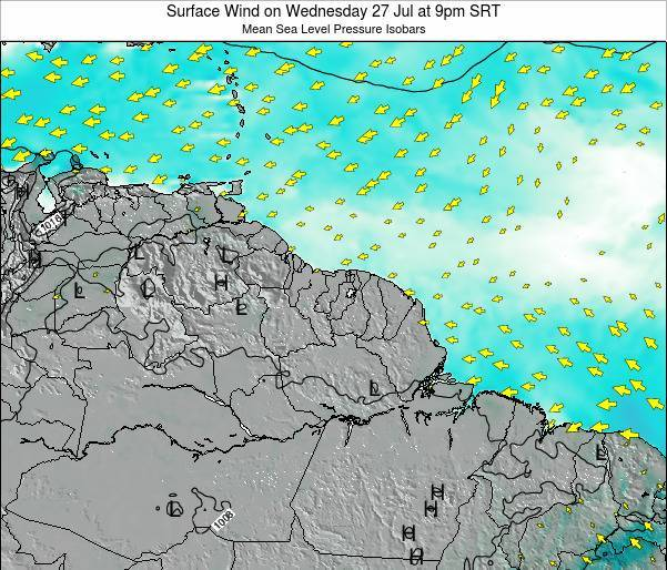 French Guiana Surface Wind on Tuesday 11 Mar at 9am SRT