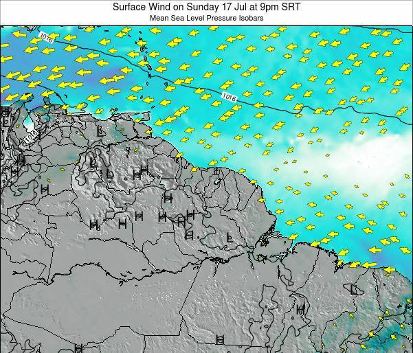 French Guiana Surface Wind on Friday 13 Dec at 3pm SRT