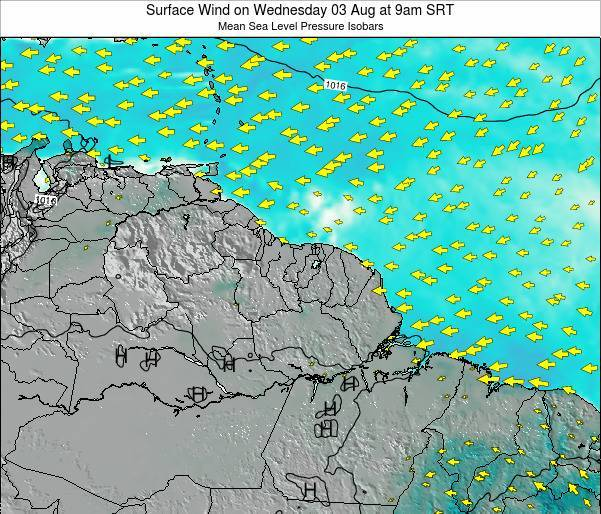 French Guiana Surface Wind on Friday 03 Apr at 3am SRT