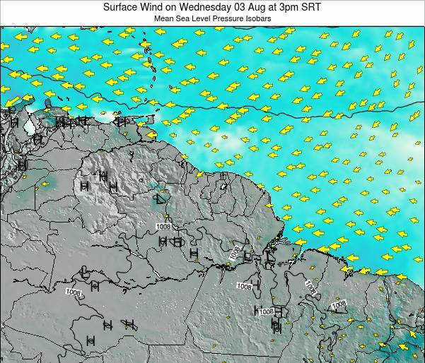French Guiana Surface Wind on Thursday 31 Jul at 9pm SRT