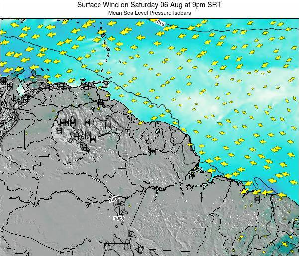 French Guiana Surface Wind on Saturday 22 Jun at 3am SRT