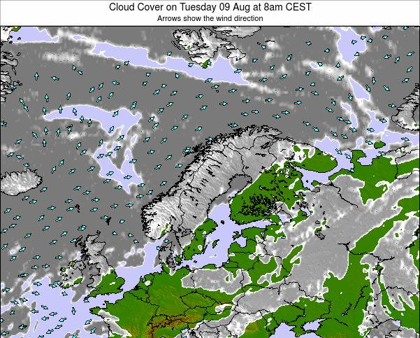Sweden Cloud Cover on Wednesday 22 May at 2pm CEST map