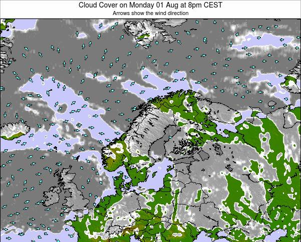 Norway Cloud Cover on Sunday 26 May at 2am CEST