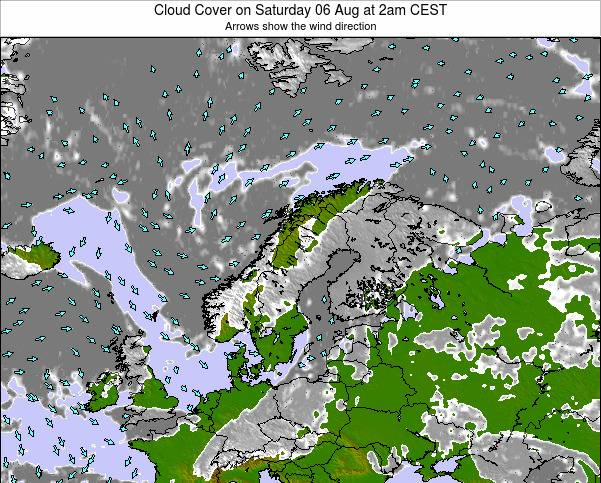 Finland Cloud Cover on Thursday 24 Jul at 8pm CEST