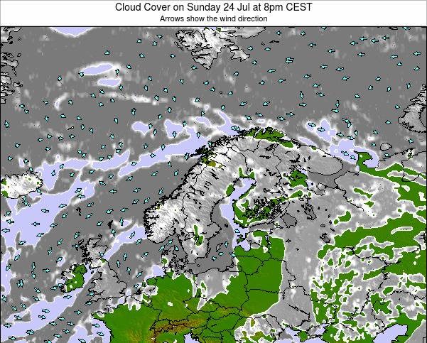 Finland Cloud Cover on Tuesday 25 Oct at 2am CEST
