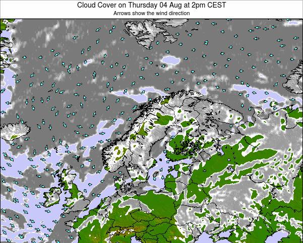 Finland Cloud Cover on Friday 18 Apr at 2pm CEST