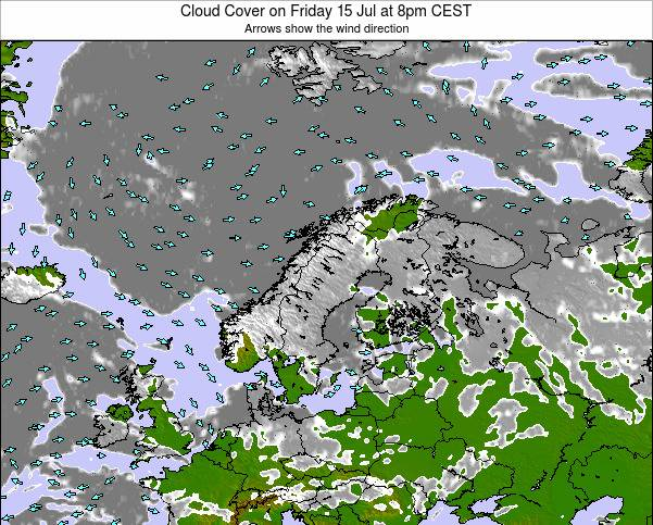 Finland Cloud Cover on Wednesday 22 May at 8am CEST