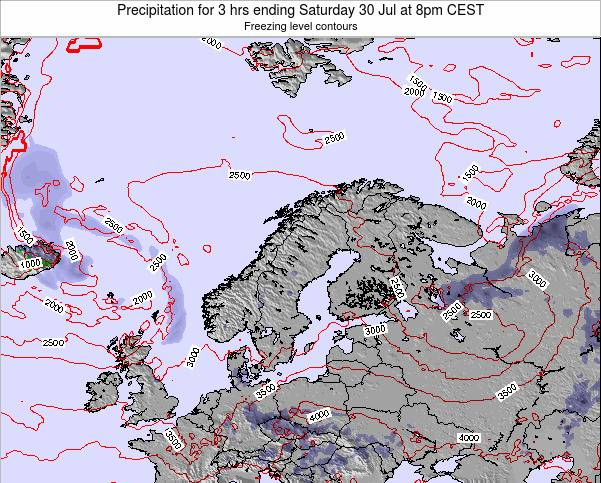 Finland Precipitation for 3 hrs ending Tuesday 25 Jun at 2am CEST map