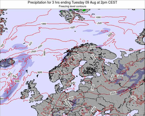 Sweden Precipitation for 3 hrs ending Wednesday 26 Jun at 8am CEST map