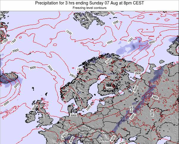 Sweden Precipitation for 3 hrs ending Wednesday 22 May at 2pm CEST map