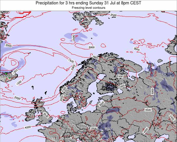 Norway Precipitation for 3 hrs ending Monday 27 May at 2am CEST map