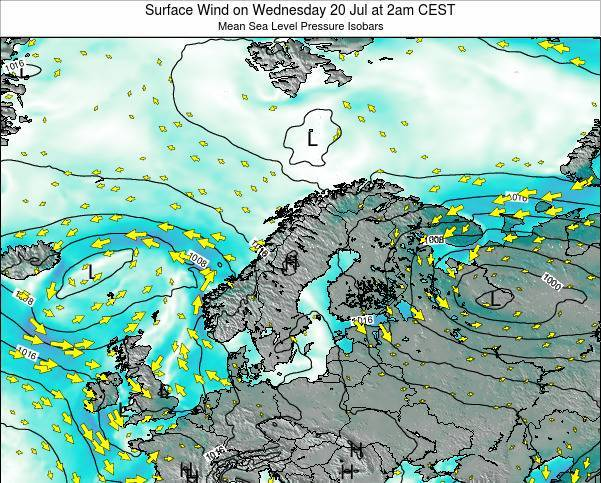 Sweden Surface Wind on Friday 24 May at 2pm CEST